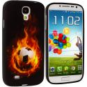 Samsung Galaxy S4 Flaming Soccar Ball TPU Design Soft Case Cover Angle 1