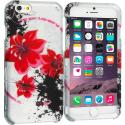 Apple iPhone 6 Plus 6S Plus (5.5) Red n Black Flower Chain 2D Hard Rubberized Design Case Cover Angle 1