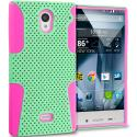 Sharp Aquos Crystal Hot Pink / Mint Green Hybrid Mesh Hard/Soft Case Cover Angle 1