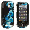 Samsung Intercept i910 Blue Flower Design Crystal Hard Case Cover Angle 1