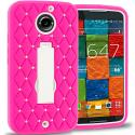 Motorola Moto X 2nd Gen Hot Pink / White Hybrid Diamond Bling Hard Soft Case Cover with Kickstand Angle 1