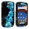 Samsung Epic 4G Blue Flower Design Crystal Hard Case Cover Angle 1