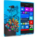 Nokia Lumia 730 735 Blue Butterfly Flower TPU Design Soft Rubber Case Cover Angle 1