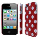 Apple iPhone 4/ 4S MPERO Slim Fit Red Polka Dot Case Cover Angle 1