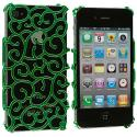 Apple iPhone 4 / 4S Green Floral Crystal Hard Back Cover Case Angle 1
