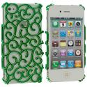 Apple iPhone 4 / 4S Green Floral Crystal Hard Back Cover Case Angle 2