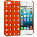 Apple iPhone 5/5S/SE Orange Handwoven Hard Rubberized Back Cover Case Angle 1