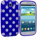 Samsung Galaxy S3 Turquiose Blue / White TPU Polka Dot Skin Case Cover Angle 1