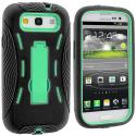 Samsung Galaxy S3 Black / Mint Green Hybrid Heavy Duty Hard/Soft Case Cover with Stand Angle 3