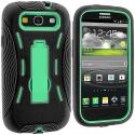 Samsung Galaxy S3 Black / Mint Green Hybrid Heavy Duty Hard/Soft Case Cover with Stand Angle 4