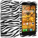 Alcatel One Touch Fierce 7024W Black/White Zebra Hard Rubberized Design Case Cover Angle 1