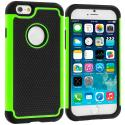 Apple iPhone 6 6S (4.7) Black / Neon Green Hybrid Rugged Hard/Soft Case Cover Angle 1