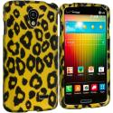 LG Lucid 3 VS876 Black Leopard on Golden 2D Hard Rubberized Design Case Cover Angle 1