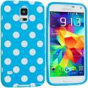 Samsung Galaxy S5 Baby Blue White TPU Polka Dot Skin Case Cover Angle 1