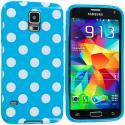 Samsung Galaxy S5 Baby Blue White TPU Polka Dot Skin Case Cover Angle 2