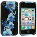 Apple iPhone 4 / 4S Blue Flower Design Crystal Hard Case Cover Angle 1