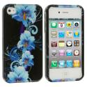 Apple iPhone 4 / 4S Blue Flower Design Crystal Hard Case Cover Angle 2