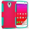 LG Volt LS740 Baby Blue / Hot Pink Hybrid Mesh Hard/Soft Case Cover Angle 1