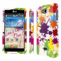 LG Spirit 4G - White Paint Splatter MPERO SNAPZ - Glossy Case Cover Angle 1