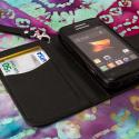 Samsung Galaxy Rush M830 - Black MPERO FLEX FLIP Wallet Case Cover Angle 4