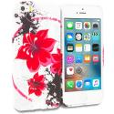Apple iPhone 5/5S/SE Red n Black Flower Chain TPU Design Soft Rubber Case Cover Angle 1