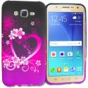 Samsung Galaxy J7 Purple Love TPU Design Soft Rubber Case Cover Angle 1