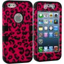Apple iPhone 5/5S/SE Hot Pink Leopard Shiny Hybrid Tuff Hard/Soft 3-Piece Case Cover Angle 1