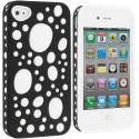 Apple iPhone 4 / 4S Black / White Hybrid Bubble Hard/Soft Skin Case Cover Angle 1