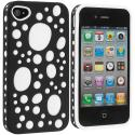 Apple iPhone 4 / 4S Black / White Hybrid Bubble Hard/Soft Skin Case Cover Angle 2