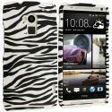 HTC One Max Black / White Zebra Hard Rubberized Design Case Cover Angle 1