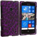 Nokia Lumia 521 Purple Black Leopard 2D Hard Rubberized Design Case Cover Angle 1