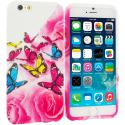 Apple iPhone 6 6S (4.7) Pink Colorful Butterfly TPU Design Soft Case Cover Angle 1