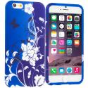 Apple iPhone 6 Plus 6S Plus (5.5) Blue White Flower Butterfly TPU Design Soft Rubber Case Cover Angle 1