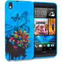 HTC Desire 816 Blue Butterfly Flower TPU Design Soft Rubber Case Cover Angle 1