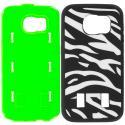 Samsung Galaxy S6 Zebra Neon Green Hybrid Deluxe Hard/Soft Case Cover Angle 8