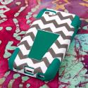 Apple iPhone 5C - Teal Chevron MPERO IMPACT X - Kickstand Case Cover Angle 3
