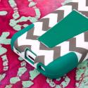 Apple iPhone 5C - Teal Chevron MPERO IMPACT X - Kickstand Case Cover Angle 7