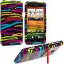 HTC EVO 4G LTE Rainbow Zebra on Black Design Crystal Hard Case Cover Angle 1