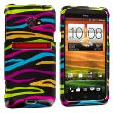 HTC EVO 4G LTE Rainbow Zebra on Black Design Crystal Hard Case Cover Angle 2