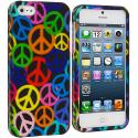 Apple iPhone 5/5S/SE Peace Sign Hard Rubberized Design Case Cover Angle 1