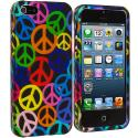 Apple iPhone 5/5S/SE Peace Sign Hard Rubberized Design Case Cover Angle 2