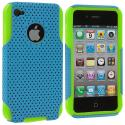 Apple iPhone 4 / 4S Neon Green / Baby Blue Hybrid Mesh Hard/Soft Case Cover Angle 2