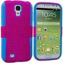 Samsung Galaxy S4 Baby Blue / Hot Pink Hybrid Mesh Hard/Soft Case Cover Angle 1
