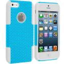 Apple iPhone 5/5S/SE White / Baby Blue Hybrid Mesh Hard/Soft Case Cover Angle 1