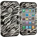 Apple iPhone 4 / 4S Black / Zebra Hybrid Tuff Hard/Soft 3-Piece Case Cover Angle 1