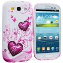 Samsung Galaxy S3 Pink Heart on White TPU Design Soft Case Cover Angle 1