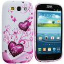 Samsung Galaxy S3 Pink Heart on White TPU Design Soft Case Cover Angle 2