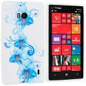 Nokia Lumia 929 Icon Blue White FLower TPU Design Soft Case Cover Angle 1