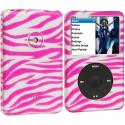 Apple iPod Classic Pink / Silver Zebra Hard Rubberized Design Case Cover Angle 1