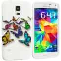 Samsung Galaxy S5 Blue Colorful Butterfly TPU Design Soft Case Cover Angle 1